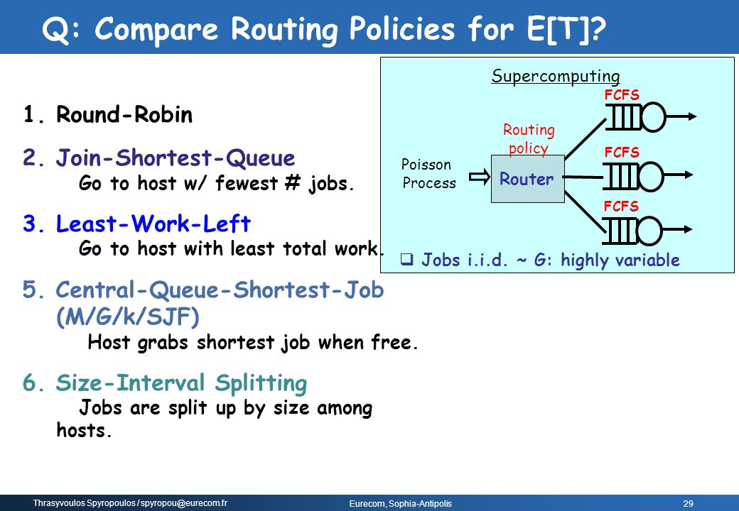Q: Compare Routing Policies for E[T]